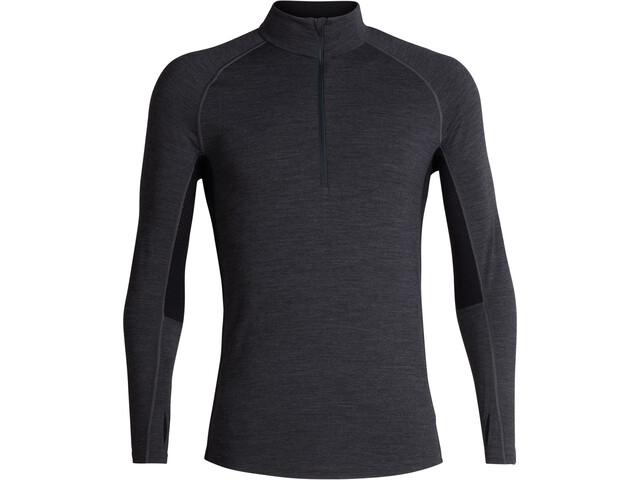 Icebreaker 200 Zone T-shirt Manches longues Demi-zip Homme, jet heather/black